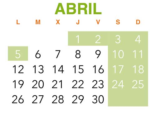 Calendario VinuesAventura. Abril